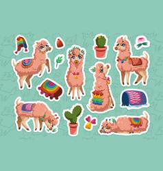 set stickers with llama peru alpaca animal vector image