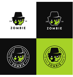set zombie skull head logo icon vector image