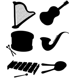 Six silhouettes of musical instruments vector image