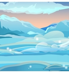 Snow valley with the mountains vector