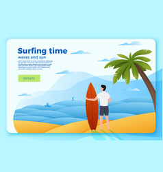 surfer on an ocean beach on summer background vector image