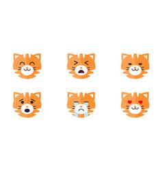 Tiger emoticon emoji set cute animal face vector