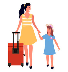 Traveling mother and daughter people on journey vector