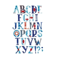 Watercolor alphabet in marine style with vector