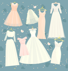 Wedding dresses set bride and bridesmaid vector
