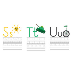 writing practice letters s t u education for kids vector image