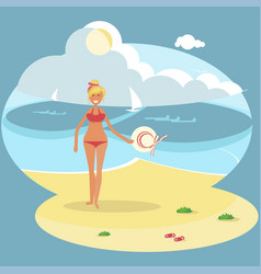 young girl on beach vector image