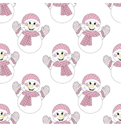 Zentangle snowman seamless pattern hand drawn vector