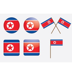 badges with flag of North Korea vector image vector image