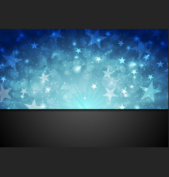 blue shiny sparkling background with stars vector image vector image