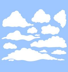 cartoon clouds set on blue sky background vector image
