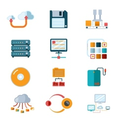 Flat data icons vector image vector image
