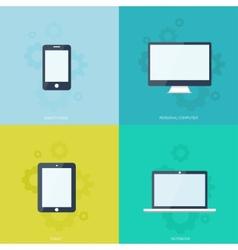 Flat mobile devices set Computer laptop tablet vector image