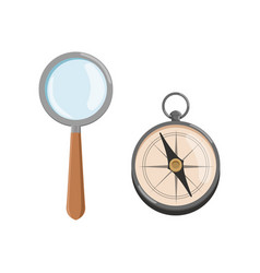 icon of magnifying glass loupe with wooden handle vector image