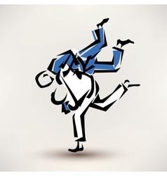 Judo symbol one wrestler throw another vector
