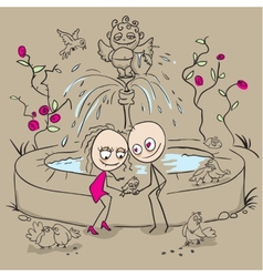 Lovers at the fountain fed birds vector image
