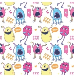 Monsters seamless pattern vector image vector image