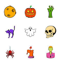 pumpkin lantern icons set cartoon style vector image