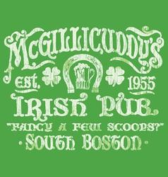 Vintage Irish Pub Sign T-shirt Graphic vector image vector image