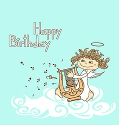 Card for birthday with cupid playing the lyre vector image vector image