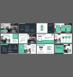 green presentation templates and infographics vector image
