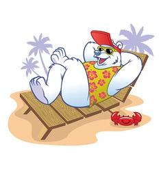 polar bear cartoon enjoying the holiday vector image vector image