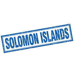 Solomon islands blue square grunge stamp on white vector