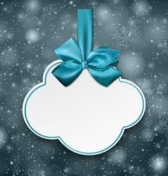 White cloud gift card with blue satin bow vector image