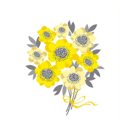 abstract wedding bouquet with yellow camellia and vector image
