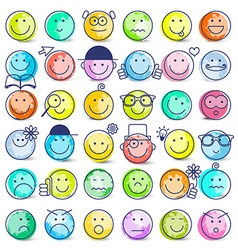 Colorful Faces Set Icons Isolated on White vector image