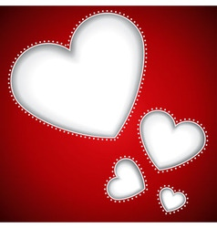 Cut heart shapes red background vector image vector image