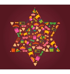 David star with objects of purim holiday vector