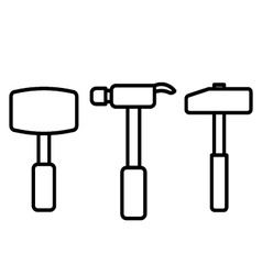 Hammer outline vector image vector image