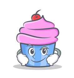 smirking cupcake character cartoon style vector image vector image