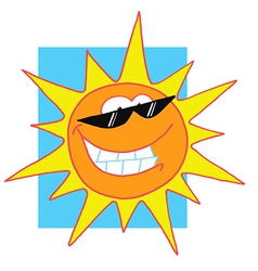 Sun Cartoon Character With Sunglasses vector image vector image