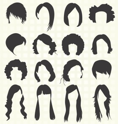 Womans Hair Styles Silhouettes vector image