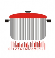 bowl and barcode vector image vector image