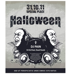 grungy poster for halloween party vector image vector image