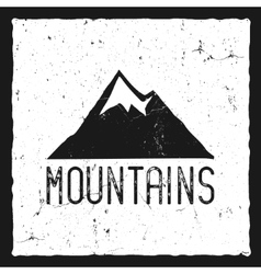 Hand drawn mountain poster Wilderness old style vector image