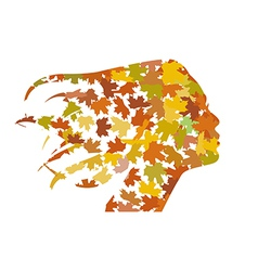 Profile of the girl from the leaves vector image