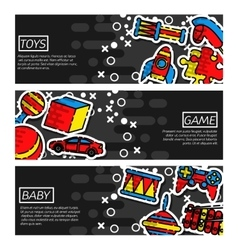 Set of Horizontal Banners about Toys vector image vector image