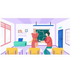 A teacher at school for seamstresses explains vector