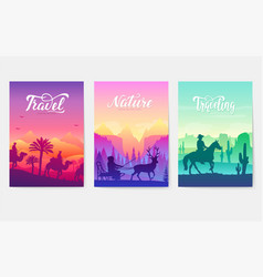 animal in their natural habitat set movement on vector image
