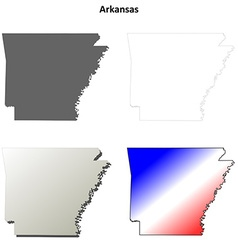 Arkansas outline map set vector image