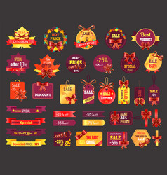 Autumn sale or fall discount icons shopping tags vector