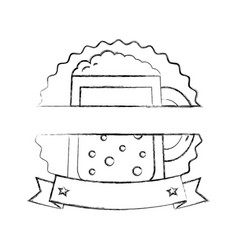 beer glass drink celebration emblem vector image