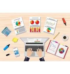 Businessman workplace wooden desk vector
