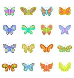 Butterfly fairy icons set cartoon style vector