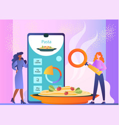 Calorie counting apps showing nutrition fact meal vector