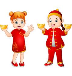 cartoon chinese kids holding gold ingots vector image